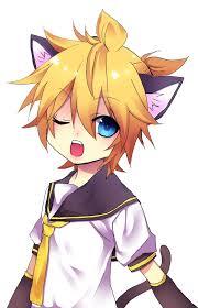 Neko anime Characters karatasi la kupamba ukuta entitled kagamine len