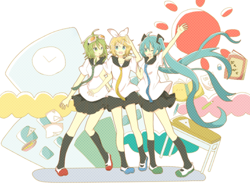 Vocaloids wallpaper possibly containing anime called miku, gumi, rin