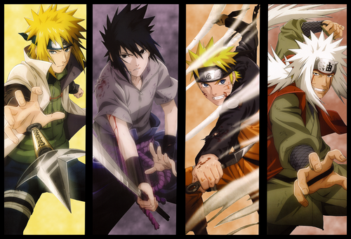 uzumaki naruto (shippuuden) wallpaper containing animê called minato , saskue , naruto , jiraya
