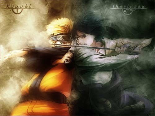 Uzumaki Naruto (Shippuuden) Hintergrund probably containing a feuer and Anime titled Naruto and sauke