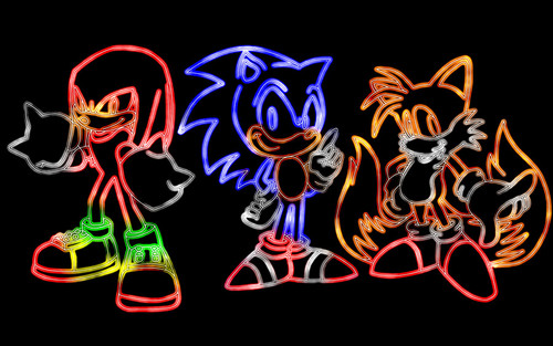 Sean the hedgehog Обои containing a sign entitled neon trio together