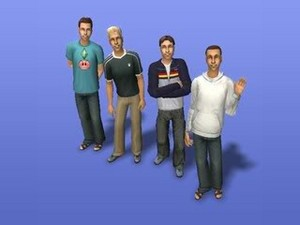 sam thomas, logan bruno, allen grey, and bart taylor in the sims 2