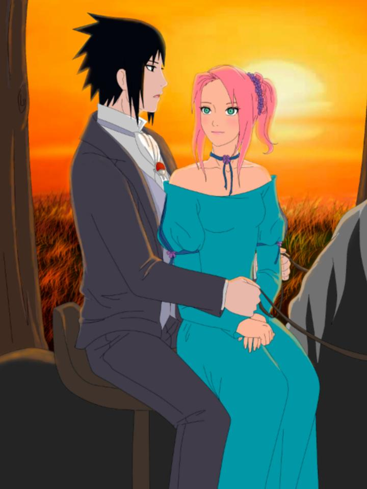 Sasusaku going on horse