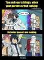 this is how you act when your parents are and not looking ^_^ - fairy-tail wallpaper