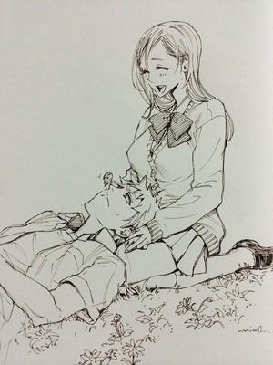 【描いてみました】リク)BLEACHより 一護×織姫 의해 三輪ヨシユキ