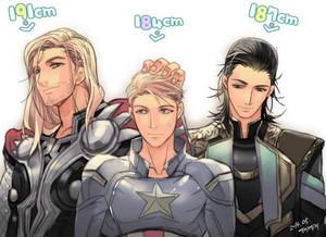 Thor, Captain America and Loki