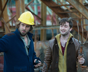 Alexandra aja and Daniel Radcliffe behind the scenes of Horns