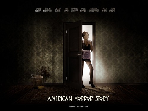 American Horror Story karatasi la kupamba ukuta possibly containing a revolving door and a living room titled American Horror Story
