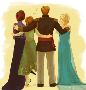 Anna and Elsa with their parents