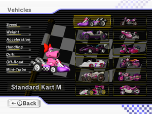 Birdo's full roster of her karts/bikes in Mario Kart Wii including unlock-able ones.
