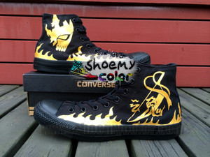 Bleach Logo High 最佳, 返回页首 匡威 Canvas Shoes Hand Painted Black Sneaker for Men/Women