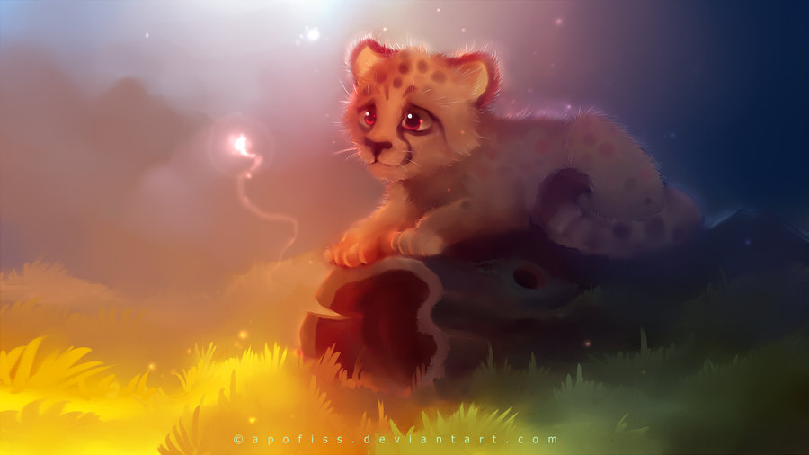 Cheetah In The Night Art
