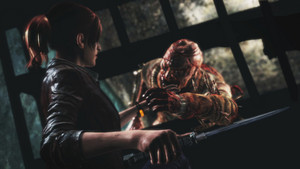 "Claire fighting ""Afflicted"" in Resident Evil: Revelations 2"