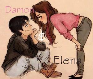 Damon elena / cartoon
