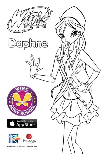 Winx Club hình nền with anime entitled Daphne coloring page