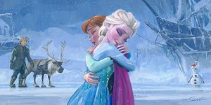 "disney Fine Art - Frozen - Uma Aventura Congelante - ""The Warmth of Love"" por Jim Salvati"