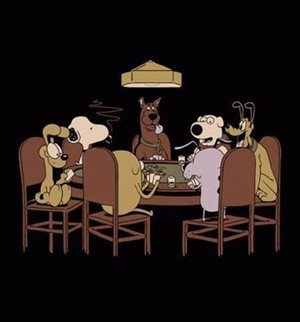 perros playing poker
