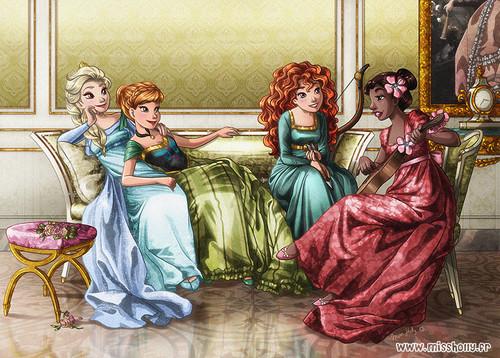 Elsa, Anna, Merida, and Moana