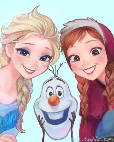 Холодное сердце Обои possibly with Аниме titled Elsa, Anna and Olaf