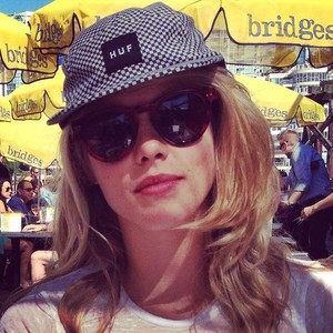 Emily Bett Rickards at Bridges Restaurant in Vancouver