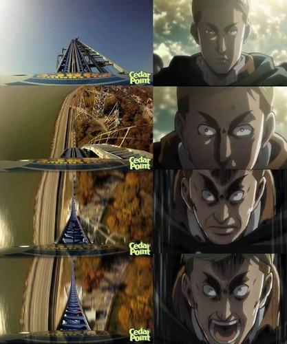 Shingeki no Kyojin (Attack on Titan) Hintergrund containing a totem pole titled Erwin riding roller coaster