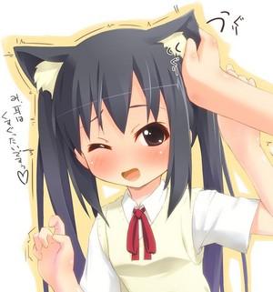 Fondling Azusa's ears