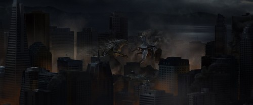 Godzilla 壁纸 containing a business district titled Godzilla VS The Female Muto