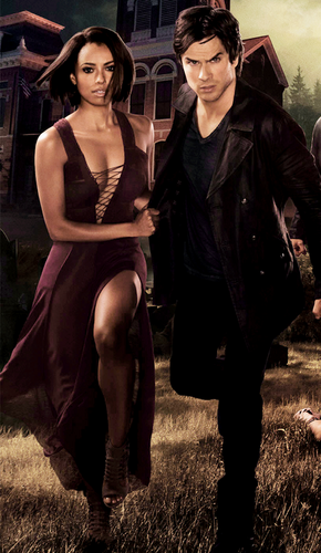 Damon & Bonnie wallpaper possibly containing bare legs, a hip boot, and a swimsuit called HD version of Season6 promo