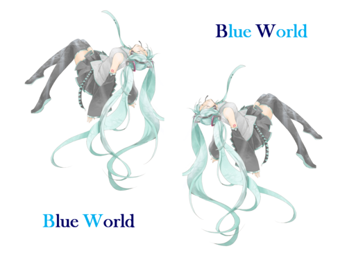Hatsune Miku Hintergrund possibly with a sign titled Hatsune Miku - Blue World