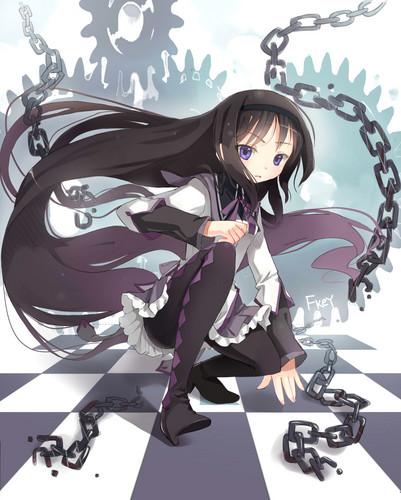 Mahou Shoujo Madoka Magica hình nền entitled Homura~chan