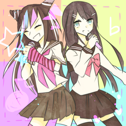 Dangan Ronpa kertas dinding possibly with Anime titled Ibuki Mioda and Sayaka Maizono