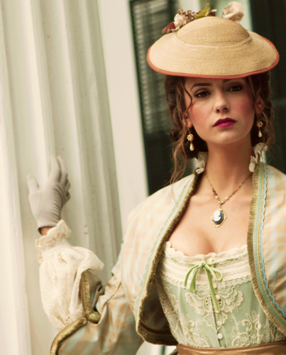 Katherine Pierce Hintergrund probably with a fedora and a boater titled Katherine Pierce