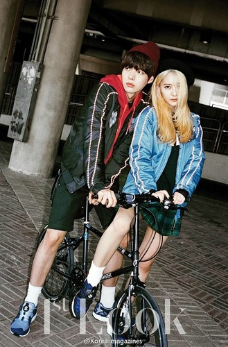 F(x) wallpaper probably containing a bicycling and a bicycle called Krystal for 1st Look Magazine