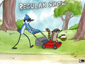 Lawnmower with Mordecai and Rigby