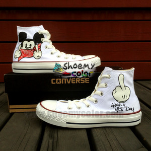 Lovely Mickey ratón Pure Hand Painted White High parte superior, arriba converse Canvas Shoes for Women Men/Kids