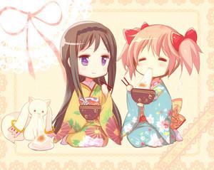Madoka and Homura Chibi