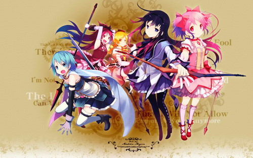 Mahou Shoujo Madoka Magica Wallpaper Probably With A Bouquet Entitled