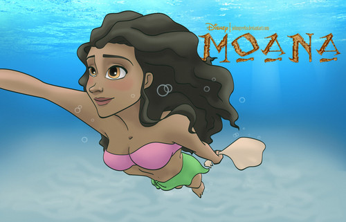 Moana wallpaper possibly with Anime entitled Moana Swimming