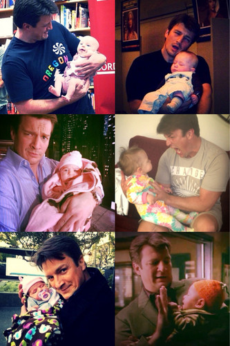 Nathan Fillion & Stana Katic karatasi la kupamba ukuta called Nathan and babies