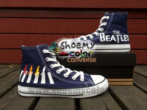 Navy Blue The Beatles High bahagian, atas Converse Canvas Hand Painted Custom Shoes for Women Men