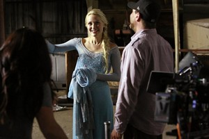 Once Upon a Time behind the scenes photos of Georgina Haig as Elsa