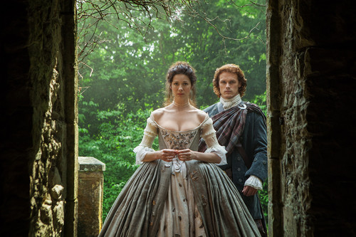 serial tv outlander 2014 wallpaper containing a hoopskirt titled Outlander - 1x07 - The Wedding