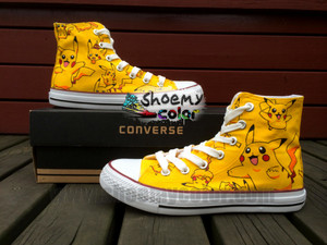 Pikachu pure hand painted Converse Canvas Shoes