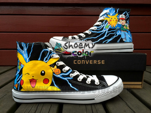 Pokémon wallpaper with a running shoe titled Pokemon Pikachu New Black High Top Converse Canvas Sneaker Fashion Shoes for Men /Women