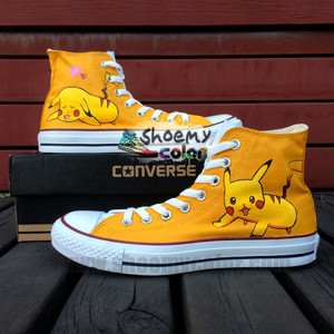 Pokemon Пикачу New White High вверх Converse Canvas Fashion Shoes for Men /Women