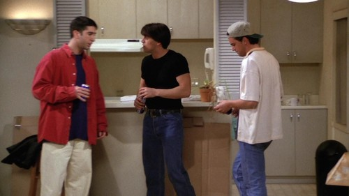 Friends wallpaper possibly with a lectern, a sign, and long trousers entitled Ross, Joey and Chandler