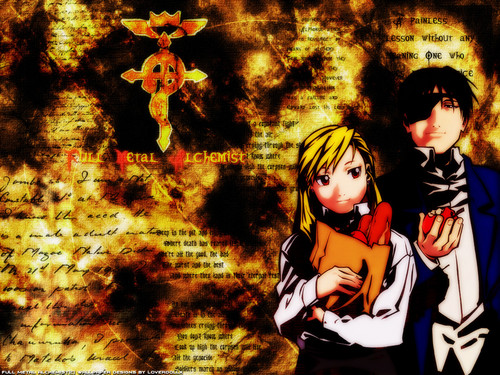 फुल मेटल ऐल्केमिस्ट वॉलपेपर possibly containing ऐनीमे titled Roy and Riza :3