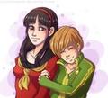 Satonaka Chie and Amagi Yukiko   Shin Megami Tensei: Persona 4