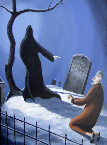 Charles Dickens kertas dinding possibly with a sign, a california sea lion, and a lectern titled Scrooge vs. the Ghost of Krismas Future