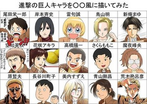SnK Character Styles from Different Mangaka